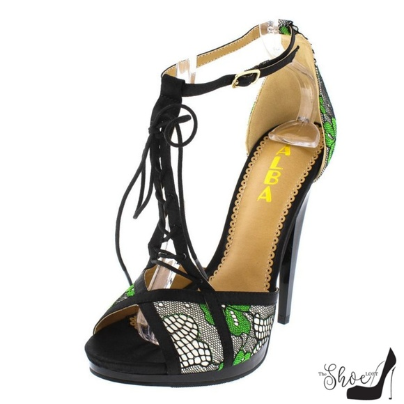 9c10dbe78c1 Riley Black   Green Lace T-Strap Open Toe Heels